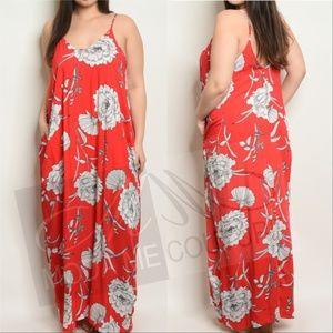 Dresses & Skirts - CURVY Coral Floral Print Maxi Dress